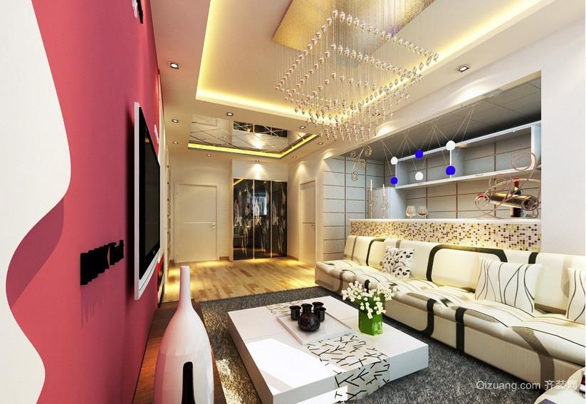 时尚单身公寓客厅吊顶装修设计效果图