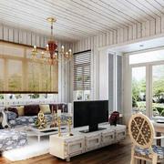 美式简约白色系客厅吊顶装饰
