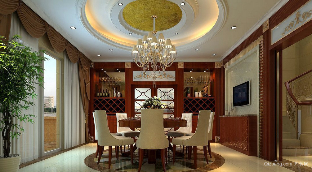 奢华别墅餐厅吊顶装修设计效果图