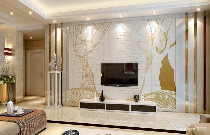简约都市客厅电视瓷砖背景墙效果图