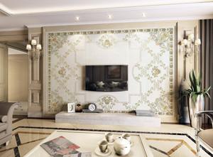 简欧复式楼客厅电视瓷砖背景墙效果图