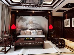 120平米中式风格复古客厅沙发背景墙设计