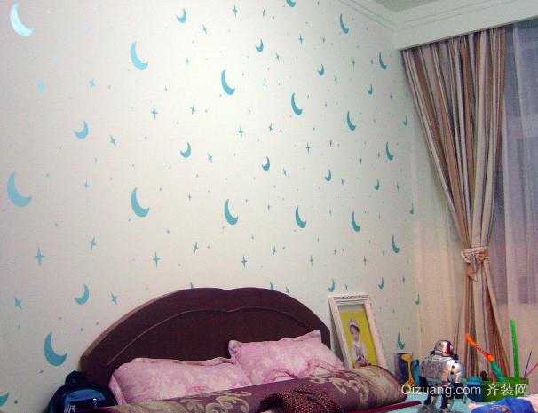 美式简约风格儿童房床头液体壁纸装修效果图