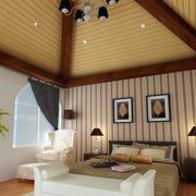 美式简约深色卧室原木吊顶装饰