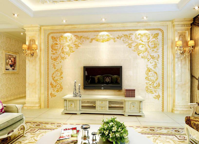 金碧辉煌欧式大客厅电视背景墙效果图