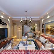 美式地中海98平家居客厅装修效果图