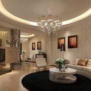 后现代风格奢华圆形客厅吊顶装饰