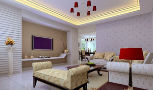 韩式风格120平米客厅电视背景墙效果图