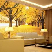 现代简约风格3D风景墙沙发背景墙效果图
