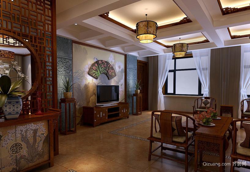 传统中式老年公寓客厅装修效果图