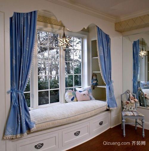 小洋楼韩式清新风格卧室飘窗装修效果图