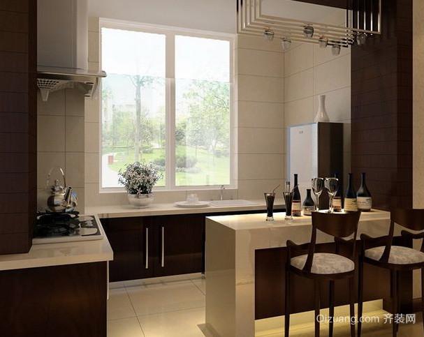 后现代风格深色原木简约厨房装修效果图