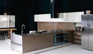 时尚男士大公寓厨房不锈钢橱柜效果图