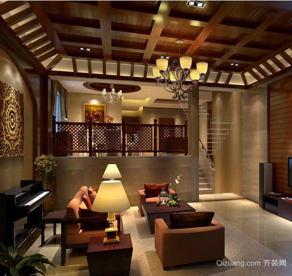 错层式住宅客厅生态木吊顶装修效果图