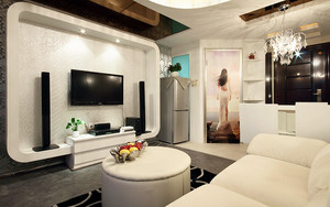 北欧风格单身公寓客厅装修效果图