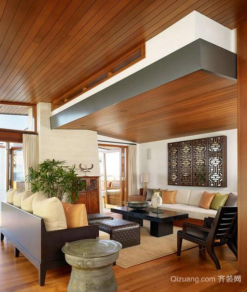 现代美式客厅生态木吊顶装修效果图
