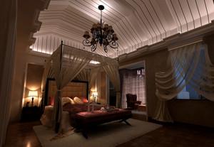 奢华别墅卧室生态木吊顶装修效果图