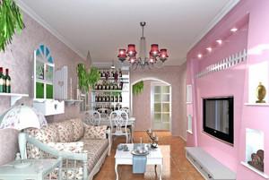 粉色田园风格小客厅装修效果图片