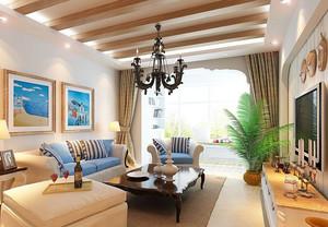 田园风格现代小公寓客厅装修效果图片