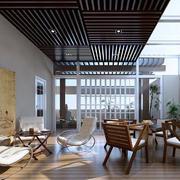 新中式阳光房生态木吊顶装修效果图