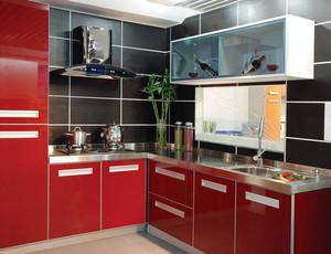 96平米小户型厨房红色不锈钢橱柜效果图