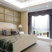 现代简约跃层式卧室布艺窗帘效果图