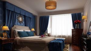 混搭风格30平米卧室布艺窗帘效果图