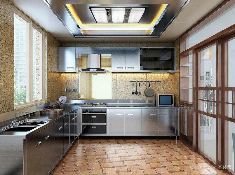 现代114平米家居厨房不锈钢橱柜效果图