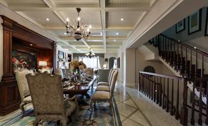 复式楼餐厅白色生态木吊顶装修效果图