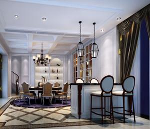 优雅欧式别墅餐厅吧台设计装修效果图