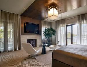 现代时尚大户型卧室布艺窗帘效果图