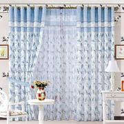 韩式蓝色小公寓家居布艺窗帘效果图