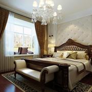 美式大卧室飘窗布艺窗帘效果图