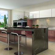 大户型别墅开放式厨房不锈钢橱柜效果图