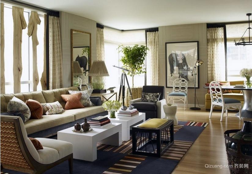 田园风格100平米客厅装修效果图片
