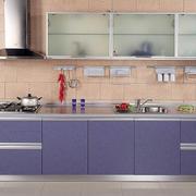 紫色现代一字型厨房不锈钢橱柜效果图