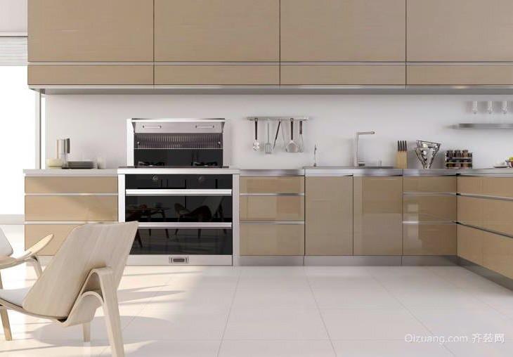 现代简约厨房咖啡色不锈钢橱柜效果图