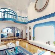别墅室内蓝色墙面