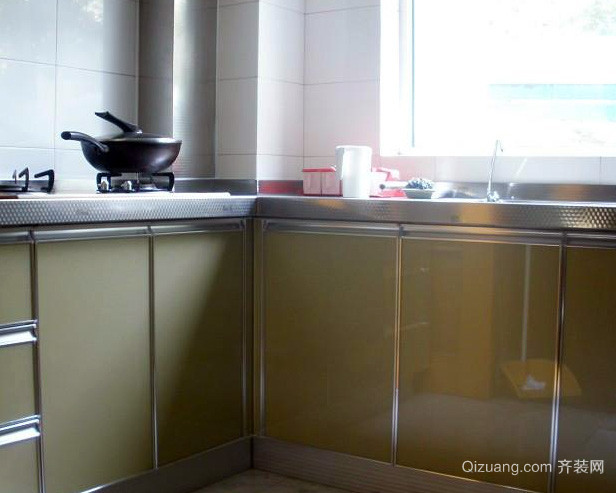 80平米小户型简约风格不锈钢橱柜装修图