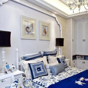 欧式简约风格卧室白色石膏板卧室背景墙装饰