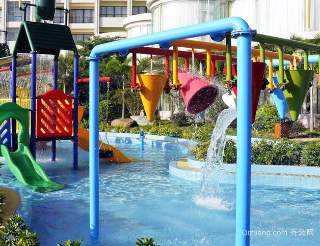 现代简约风格小区儿童游泳池装修效果图