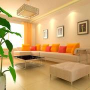 两室一厅清新简约风格新房客厅装修效果图