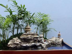 两室一厅小型客厅假山盆景装修效果图