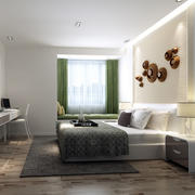 三室一厅简约东南亚浅色卧室床头背景墙装饰