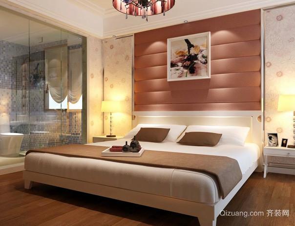 两室一厅主卧床头背景墙装修效果图