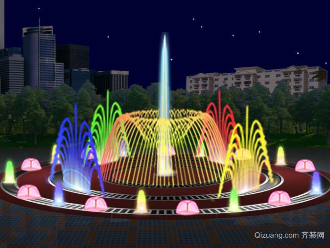 大型奢华小区音乐喷泉装修效果图