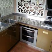 现代简约田园风格跃层厨房不锈钢橱柜装饰