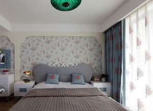小洋楼欧式田园风格卧室印花背景墙装饰