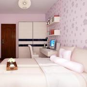 两室一厅现代简约风格卧室壁纸装修效果图