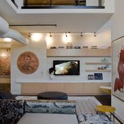 小型跃层住宅美式风格客厅电视背景墙装修图